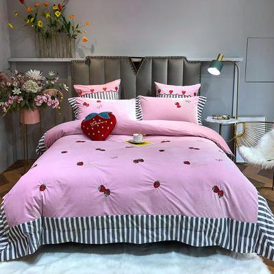 2019新款刺绣拼接丽丝绒四件套—-草莓 1.5m床单款 草莓-粉