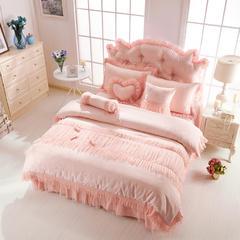 2015年款-韩版全棉提花公主套件(甜蜜糖果) 床裙款加大2.0m(6.6英尺)床 玉色