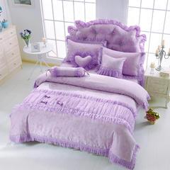 2015年款-韩版全棉提花公主套件(甜蜜糖果) 1.8m(6英尺)床 紫色