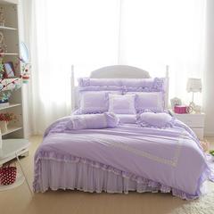 2015年款-莫代尔床裙绗绣四件套 1.5m(5英尺)床 浅紫