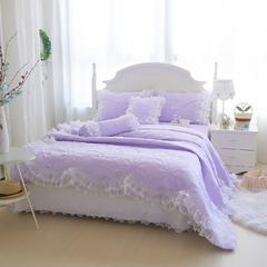 2015年款-莫代尔全绗绣四件套 圆形抱枕 浅紫