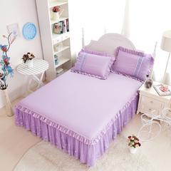 2016年款-绣花蕾丝床裙三件套 1.5m(5英尺)床 紫色