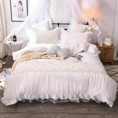 2018新款-60S蕾丝刺绣床裙四件套 1.5m(5英尺)床 白
