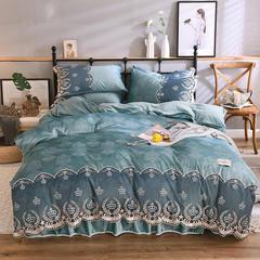 2018新款-水晶绒提花床裙四件套爱情海 需定做1.2m(4英尺)床 湖蓝色