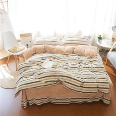 秋冬良品款宝宝绒四件套 标准1.5m-1.8m床 条纹 米驼