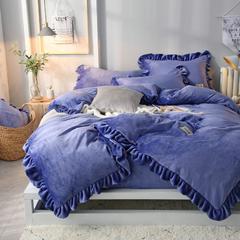 纯优家纺 2018 法莱绒双层荷叶边四件套 1.5m(5英尺)床 宝石蓝