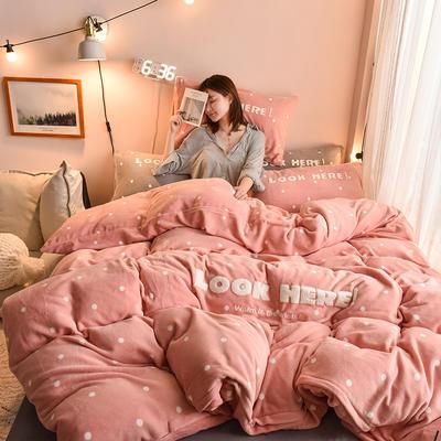 2019新款牛奶绒四件套—波点格子系列 1.8m床单款 红粉点