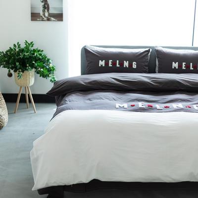 2020新款拼色水洗全棉四件套—卡乐 1.2m床单款三件套 卡乐-深灰