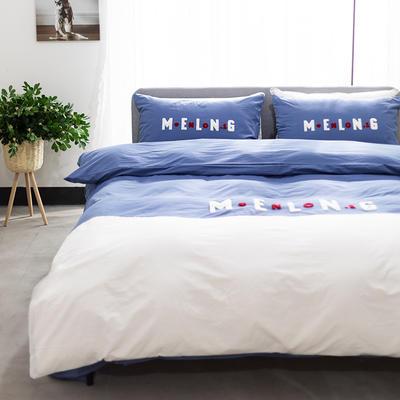 2020新款拼色水洗全棉四件套—卡樂 1.2m床單款三件套 卡樂-深藍