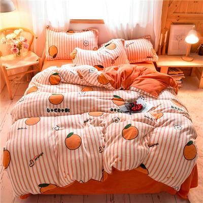 2020新款加厚牛奶绒印花四件套 1.2m床单款三件套 甜橙