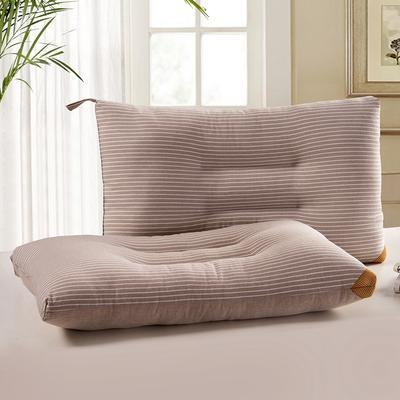 凯罗枕芯【16-4】条纹水洗枕咖色   无印良品枕芯 可水洗 软枕 低枕 条纹水洗枕蓝