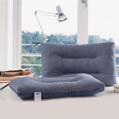 【16-4】 条纹水洗枕蓝 无印良品枕芯 可水洗 软枕 低枕 条纹水洗枕咖