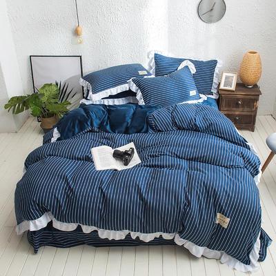 凯罗秋冬新品 水洗棉加绒保暖四件套 法莱绒四件套 水洗棉四件套 1.5m(5英尺)床 宝蓝细条