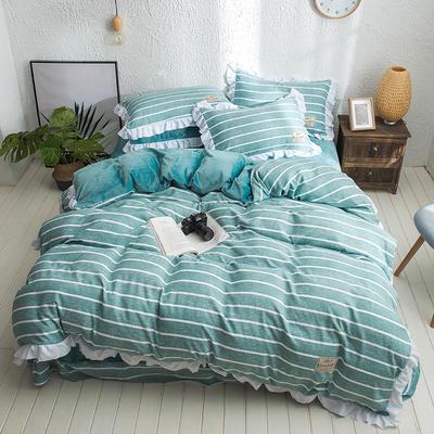 凯罗秋冬新品 水洗棉加绒保暖四件套 法莱绒四件套 水洗棉四件套 1.8m(6英尺)床 纯爱-绿
