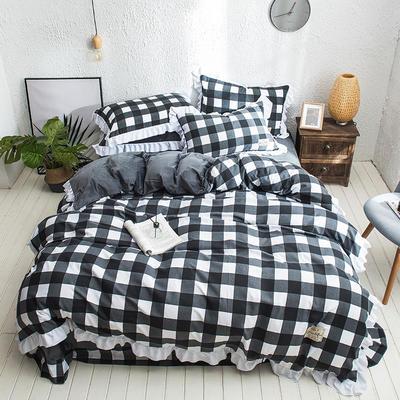 凯罗秋冬新品 水洗棉加绒保暖四件套 法莱绒四件套 水洗棉四件套 1.8m(6英尺)床 黑白中格