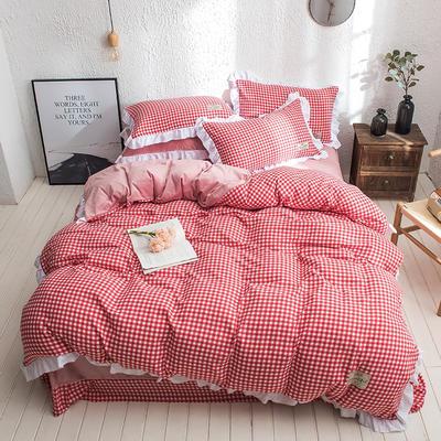 凯罗秋冬新品 水洗棉加绒保暖四件套 法莱绒四件套 水洗棉四件套 1.5m(5英尺)床 红白小格