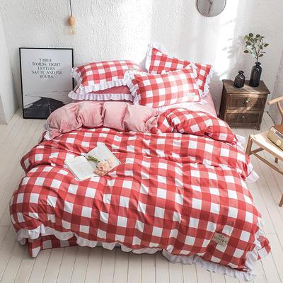 凯罗秋冬新品 水洗棉加绒保暖四件套 法莱绒四件套 水洗棉四件套 1.8m(6英尺)床 红白中格