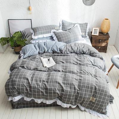 凯罗秋冬新品 水洗棉加绒保暖四件套 法莱绒四件套 水洗棉四件套 1.5m(5英尺)床 灰色中格