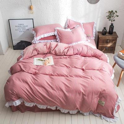凯罗秋冬新品 水洗棉加绒保暖四件套 法莱绒四件套 水洗棉四件套 1.8m(6英尺)床 樱花细条