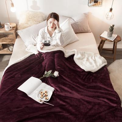 法莱绒羊羔绒毛毯 150*200cm 酒红