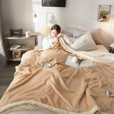 法莱绒羊羔绒毛毯 150*200cm 驼色