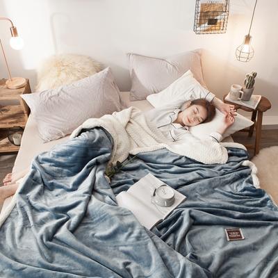 法莱绒羊羔绒毛毯 150*200cm 悠蓝