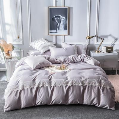 2019新款蕾丝水洗天丝四件套 1.5m(5英尺)床 灰紫