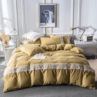 2019新款蕾丝水洗天丝四件套 1.5m(5英尺)床 姜黄
