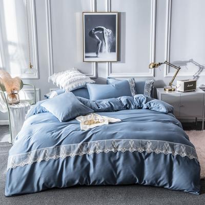 2019新款蕾丝水洗天丝四件套 1.5m(5英尺)床 蓝灰