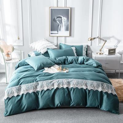 2019新款蕾丝水洗天丝四件套 1.5m(5英尺)床 墨绿