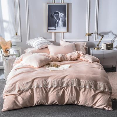 2019新款蕾丝水洗天丝四件套 1.5m(5英尺)床 玉色