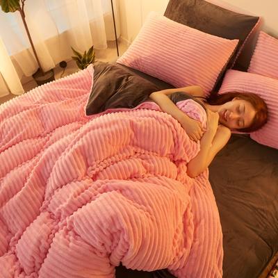 2019新款网红魔法绒四件套法莱绒四件套水晶绒保暖加厚套件 1.8m床单款四件套 胭脂粉