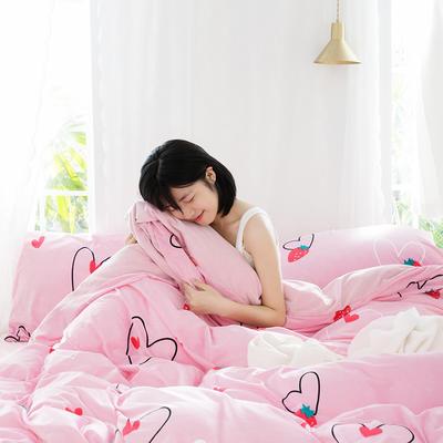 2019新款水晶絨印花四件套 1.8m床笠款 粉色愛心