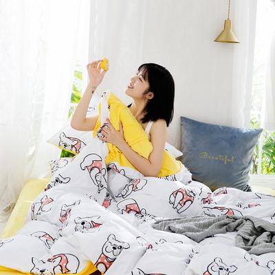 2019新款水晶絨印花四件套 1.8m床笠款 可愛狗狗(白)