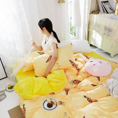 2019新款水晶绒印花四件套 1.8m床笠款 开心萝卜
