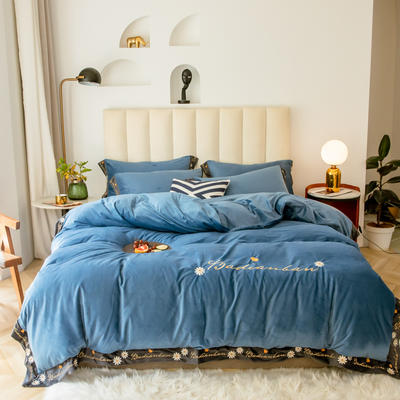 凱羅秋冬繡花水晶絨保暖四件套  法萊絨四件套 簡約保暖套件 1.8m(6英尺)床 溫莎紅
