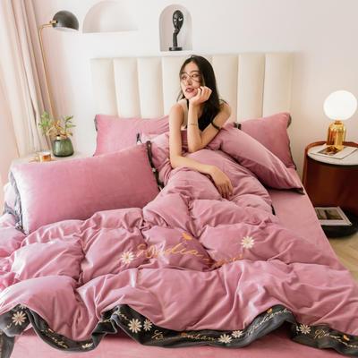 凯罗秋冬绣花水晶绒保暖四件套  法莱绒四件套 简约保暖套件 1.5m(5英尺)床 湘妃玉