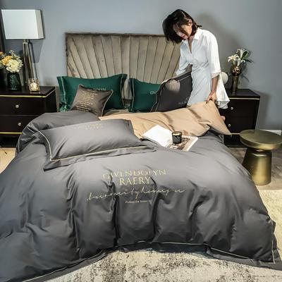 2020新款60长绒棉刺绣四件套—风格一 1.5m床单款四件套 高级灰