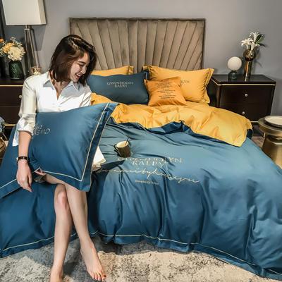 2020新款60长绒棉刺绣四件套—风格一 1.5m床单款四件套 月光蓝