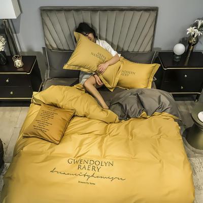 2020新款60长绒棉刺绣四件套—风格二 1.5m床单款四件套 姜黄