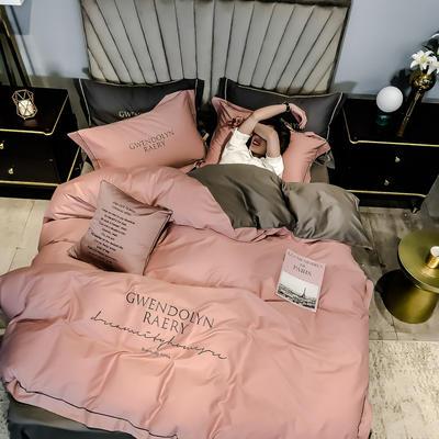 2020新款60长绒棉刺绣四件套—风格二 1.2m床单款三件套 浅豆沙