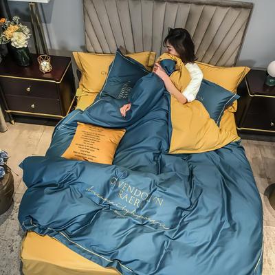 2020新款60長絨棉刺繡四件套—風格二 1.5m床單款四件套 月光藍