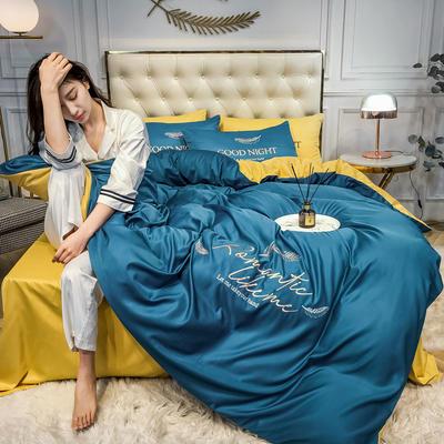 2020新款水洗真丝刺绣四件套 1.5m床单款四件套 鸿羽-月光蓝