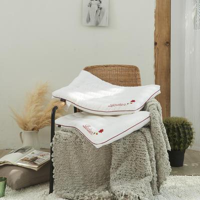 2020新款护颈柔丝枕羽丝绒枕B10枕头枕芯(48*74cm/个) 舒心枕红边