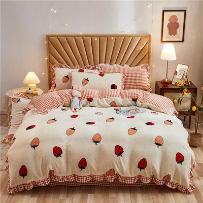 2020新款牛奶绒韩版水晶绒法莱绒四件套 1.2m床单款三件套 草莓甜心