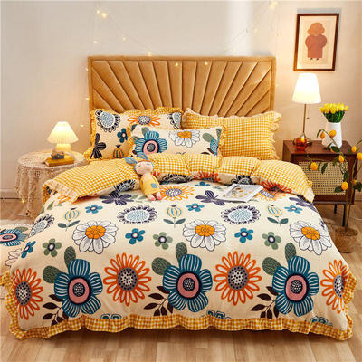 2020新款牛奶绒韩版水晶绒法莱绒四件套 1.2m床单款三件套 阳光花朵-米