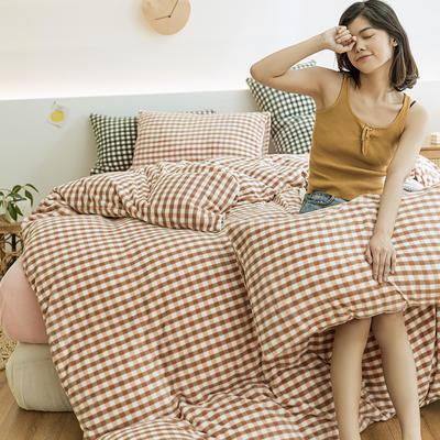 2020新款无印风格牛奶绒四件套良品风格子保暖加厚四件套 1.2m床单款三件套 粉小格