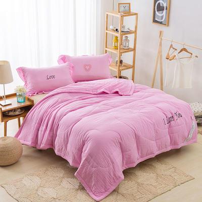纯色水洗棉夏被 150x200cm 粉色