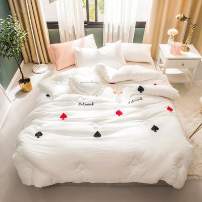 2018新款毛巾绣冬被 200X230cm(8斤) 白色