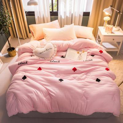 2018新款毛巾绣冬被 200X230cm(8斤) 粉色